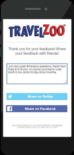 Travelzoo customer feedback social sharing