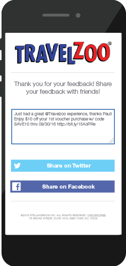 Travelzoo customer feedback social sharing